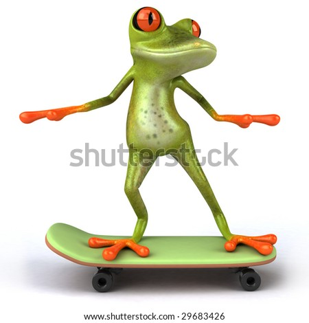 Fun frog on a skateboard - stock photo