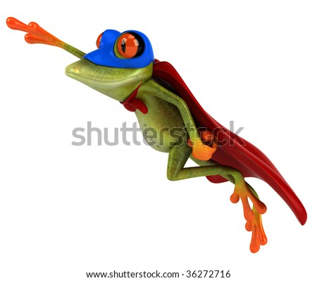 Fun frog superhero - stock photo