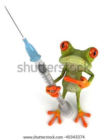 Fun frog with a syringe - stock photo