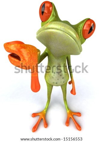 Fun frog with thumbs down - stock photo