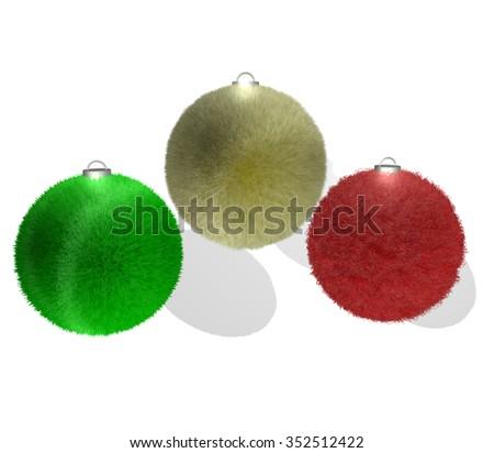 fun fur christmas balls - stock photo