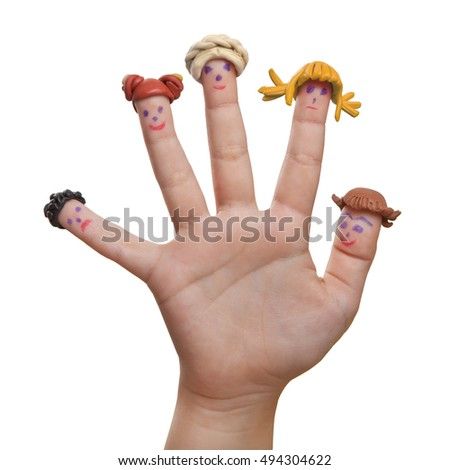 Fun girl looking for a hand with the painted men on the fingers with hair plasticine