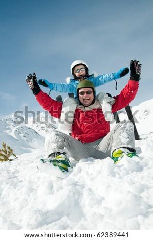 Fun in snow - stock photo