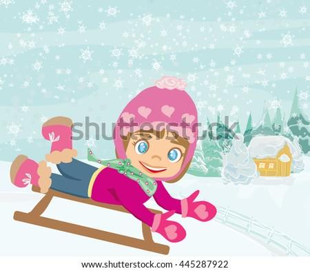 fun in the winter day  - stock photo