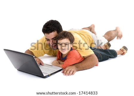 Fun moment between man, child and the laptop .