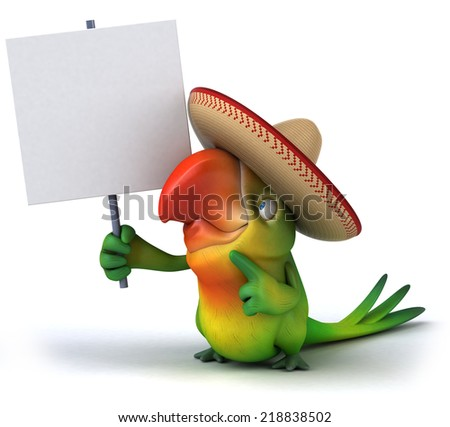 Fun parrot - stock photo