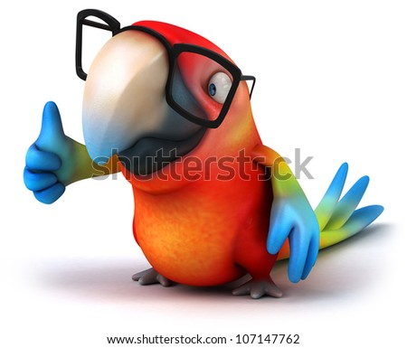 Fun parrot with glasses