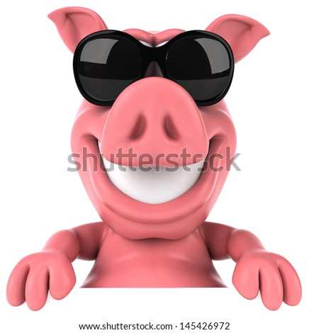 Fun pig - stock photo