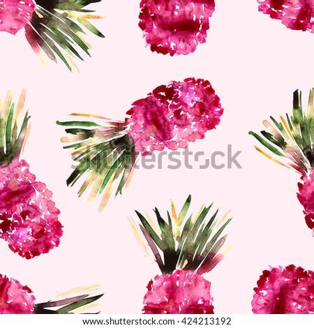 fun pink pineapples pattern, hand-drawn watercolor - stock photo