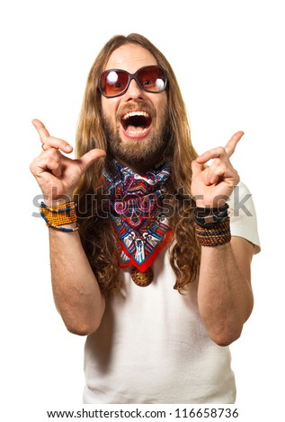 Fun portrait of a happy, surprised hippie man pointing up at copy-space. Isolated on white. - stock photo