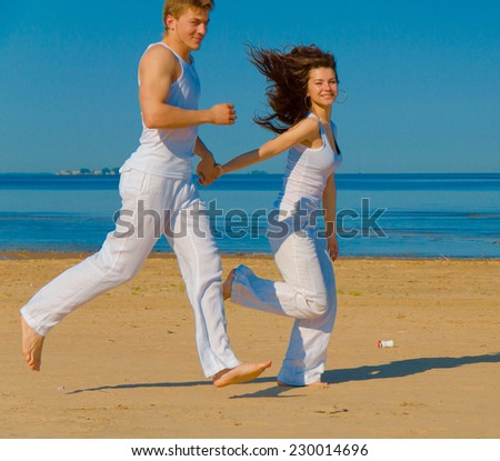 Fun Sea Running  - stock photo