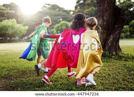Fun Summer Childhood Superhero Concept - stock photo