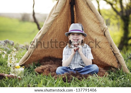 Fun tent with kids - stock photo