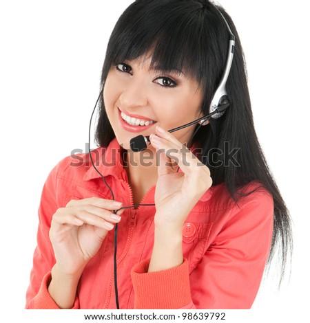 Fun woman-operator in earphones - stock photo