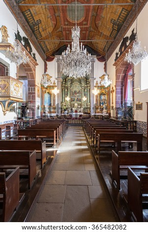 FUNCHAL, MADEIRA - JULY 04: Inside the Cathedral of Our Lady of the Mountain on July 04, 2014 in Madeira, Portugal.