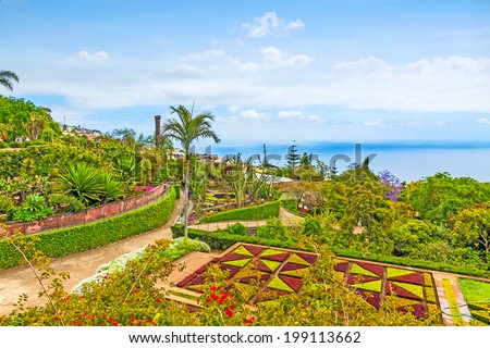 "Funchal, Portugal - June 03, 2013: Botanical garden ""Jardim Botanico"" in Funchal, Madeira, Portugal on June 03, 2013. A famous tourist destination on the island Madeira. - stock photo"