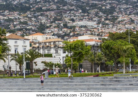 FUNCHAL, PORTUGAL - JUNE 25: Funchal city at summer time on  June 25, 2015 in Madeira Island, Portugal.