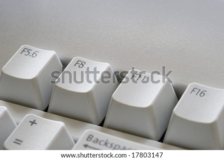 function keys with camera F-stop settings for optimum focus, symbolic of digital photography