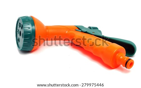 functional nozzle on a hose for watering - stock photo