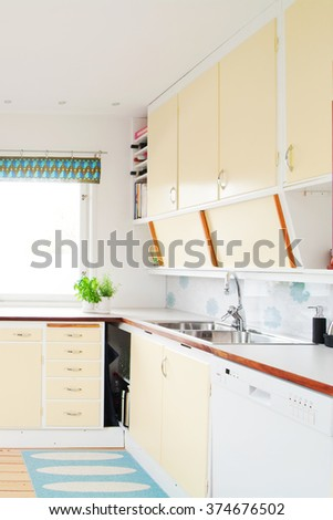 Functionalism architecture interior of a kitchen