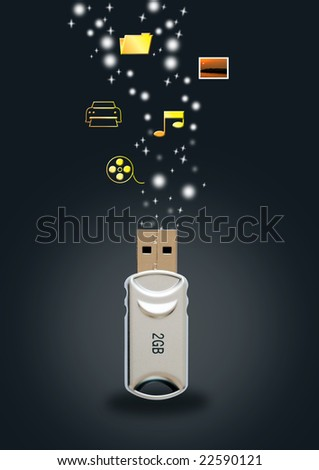 functions of a usb drive - stock photo