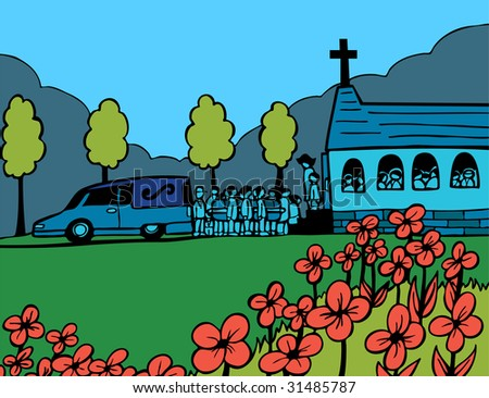 Funeral Blue Day Cartoon People Carrying Stock