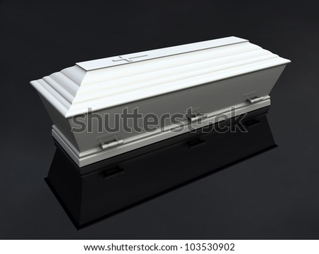 Funeral Casket White, isolated - stock photo