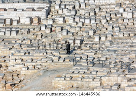 Funeral ceremony on the ancient Jewish Cemetery - Jerusalem, Israel. - stock photo