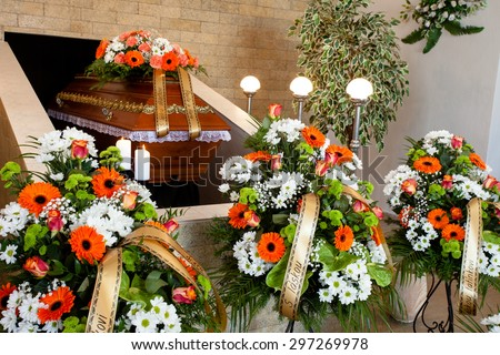 Funeral Hall Wooden Coffin Flower Decoration Stock Photo (Royalty ...