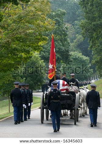 Funeral procession with honor guard at Arlington National Cemetery - stock photo
