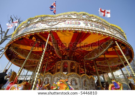 Funfair in London with flag