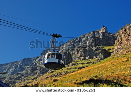 funicular on Table Mountain(Capetown) - stock photo