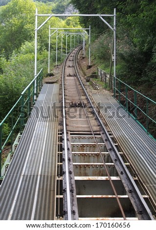 Funicular rails, Lourdes, France - stock photo
