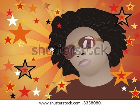 Funky afro man with stars background - stock photo