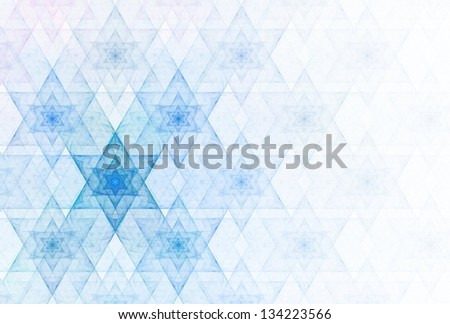 "Funky blue and pink abstract connect ""Star of David"" design on white background - stock photo"