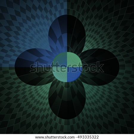 Funky blue, green and teal abstract checkered disc / flower design on black background