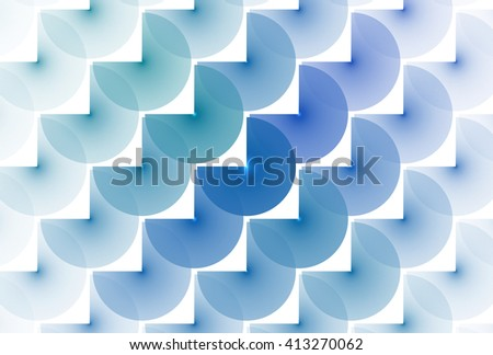 Funky blue, green and teal abstract 'three quarter disc' design on white background - stock photo