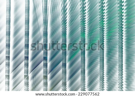 Funky blue / green / teal abstract ripple bars on white background  - stock photo