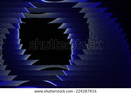 Funky blue / white abstract 'hole' design on black background - stock photo