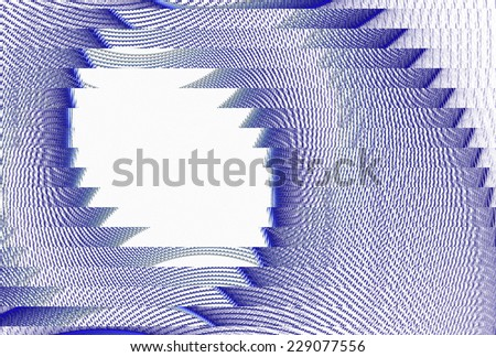 Funky blue / white abstract 'hole' design on white background  - stock photo