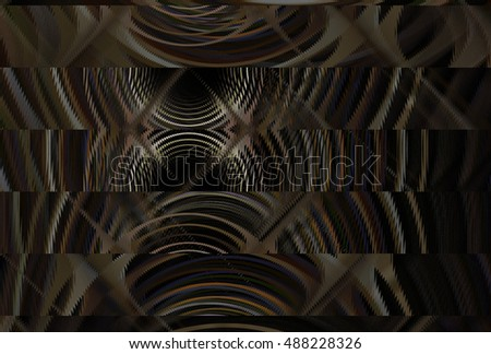Funky brown / beige abstract diamond / stripe geometric design on black background