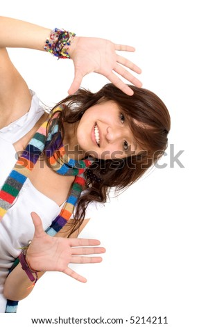 funky girl doing a handframe over a white background - stock photo