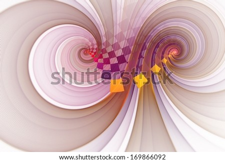 Funky gold / pink / purple abstract checkered spiral design on white background - stock photo