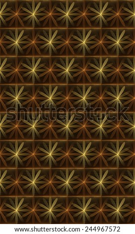 Funky orange / yellow abstract woven flower design on black background (tile able) - stock photo