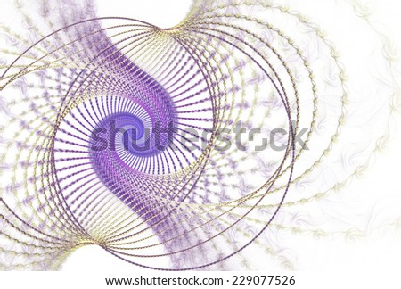 Funky peach / purple abstract woven spiral design on white background