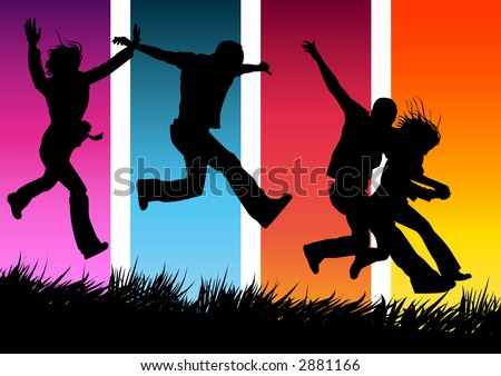Funky people running and jumping. - stock photo