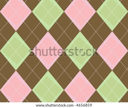 Funky pink, green and brown argyle background