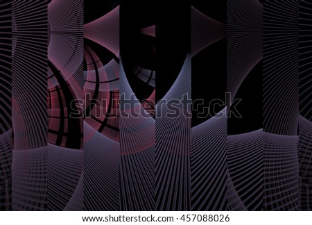 Funky purple and silver abstract woven vertical strips on black background - stock photo