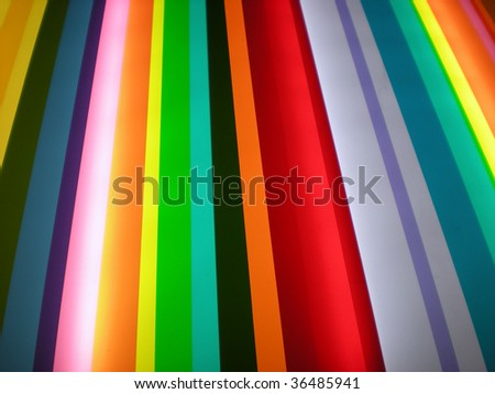 Funky rainbow striped perspective pattern background - stylish bright colors - stock photo