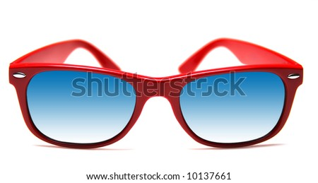 Funky red sunglasses, isolated on white - stock photo